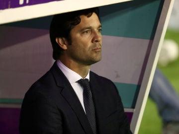 Solari, en el banquillo del estadio José Zorrilla