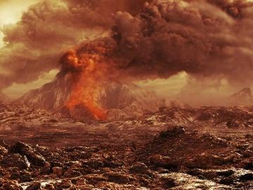 Representación artística de un volcán activo en Venus