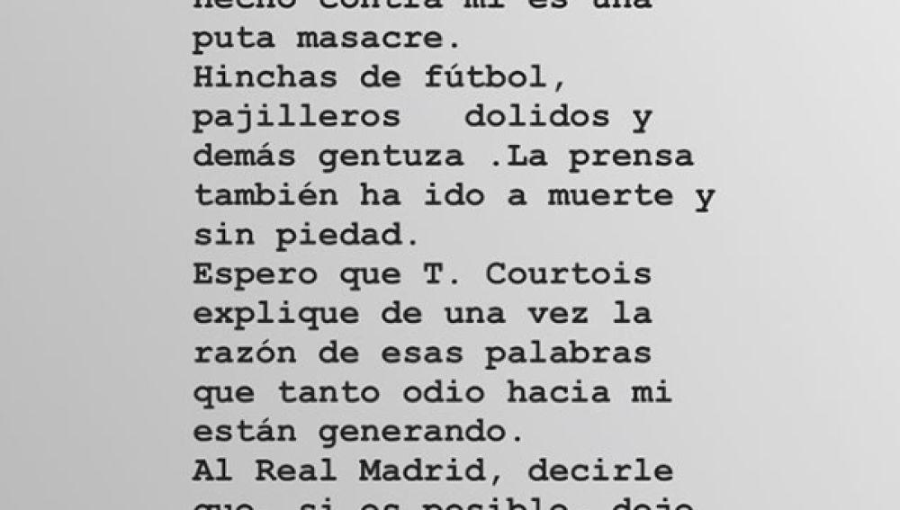 """Alba Carrillo se pronuncia después de que Courtois negara la relación: """"Lo que habéis hecho contra mí es una puta masacre"""""""