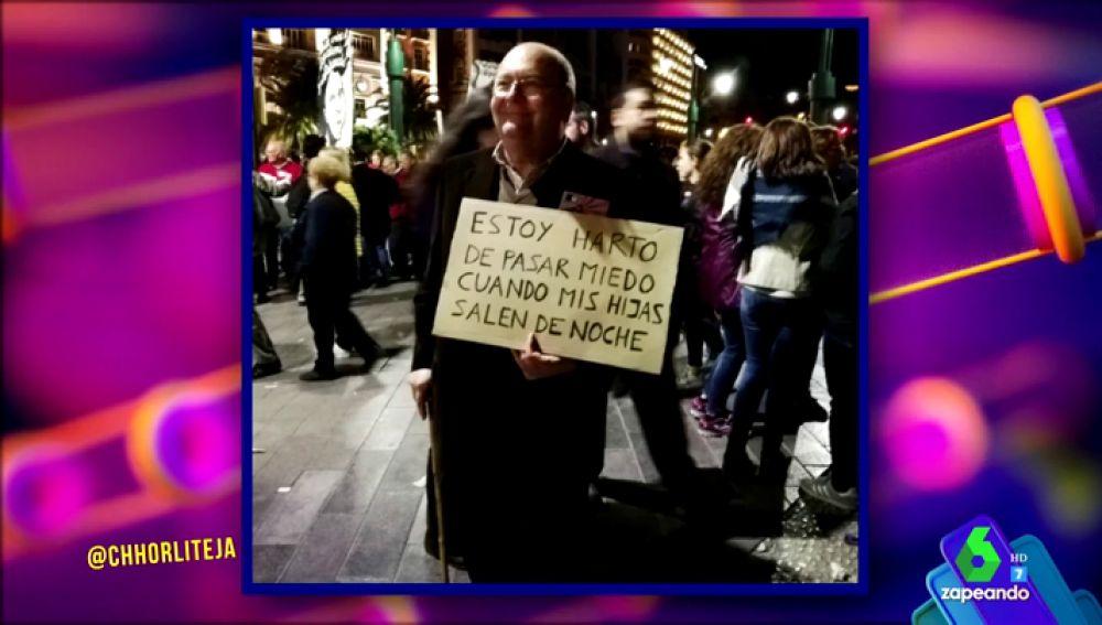 """""""Estoy harto de pasar miedo cuando mis hijas salen"""" y otras reivindicativas pancartas que reflejan que la lucha por la igualdad es de todos"""