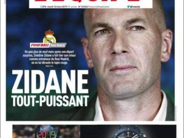 Portada de L'Équipe tras el nombramiento de Zidane como entrenador del Real Madrid