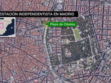 Recorrido de la manifestación independentista en Madrid