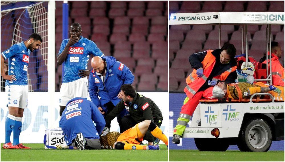 David Ospina se desmaya en el partido y se lo llevan en camilla
