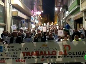 Trabajadores protestan contra el cierre de Poligal en A Coruña