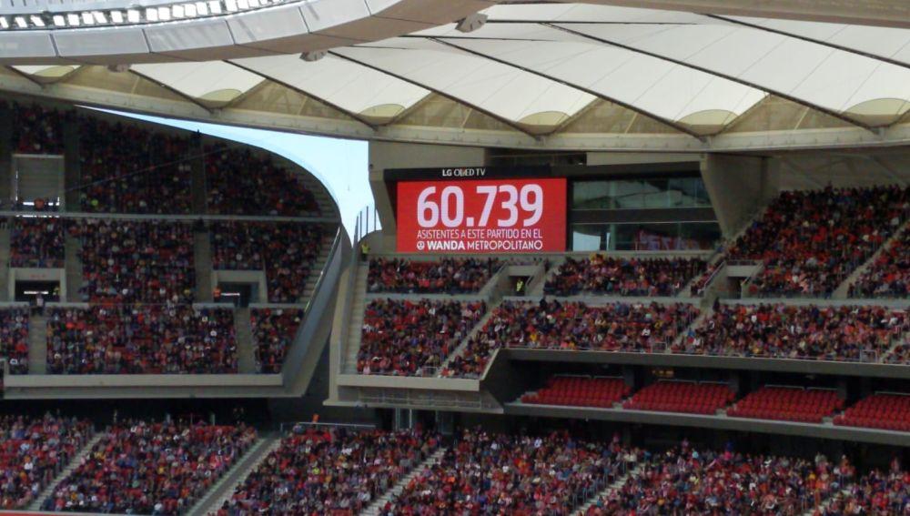 Casi 61.000 personas vieron el Atlético vs Barcelona en el Metropolitano