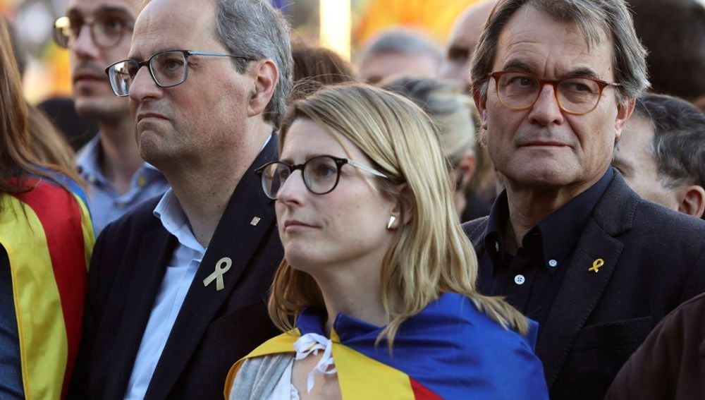 Torra, Artadi y Mas en la manifestación independentista de Madrid