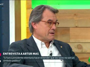 """Artur Mas no aclara si retiraría los lazos amarillos: """"Intentaría hacer entender que no son un símbolo político"""""""