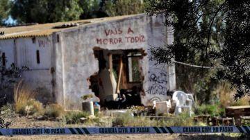 Pintada en la casa del asesinato de los niños de Godella