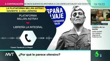 La 'Plataforma patriótica Millán Astray' amenaza a una librería por poner en su escaparate un libro crítico con la imagen del general