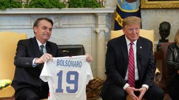 El presidente de EEUU, Donald Trump, y el presidente de Brasil, Jair Bolsonaro.