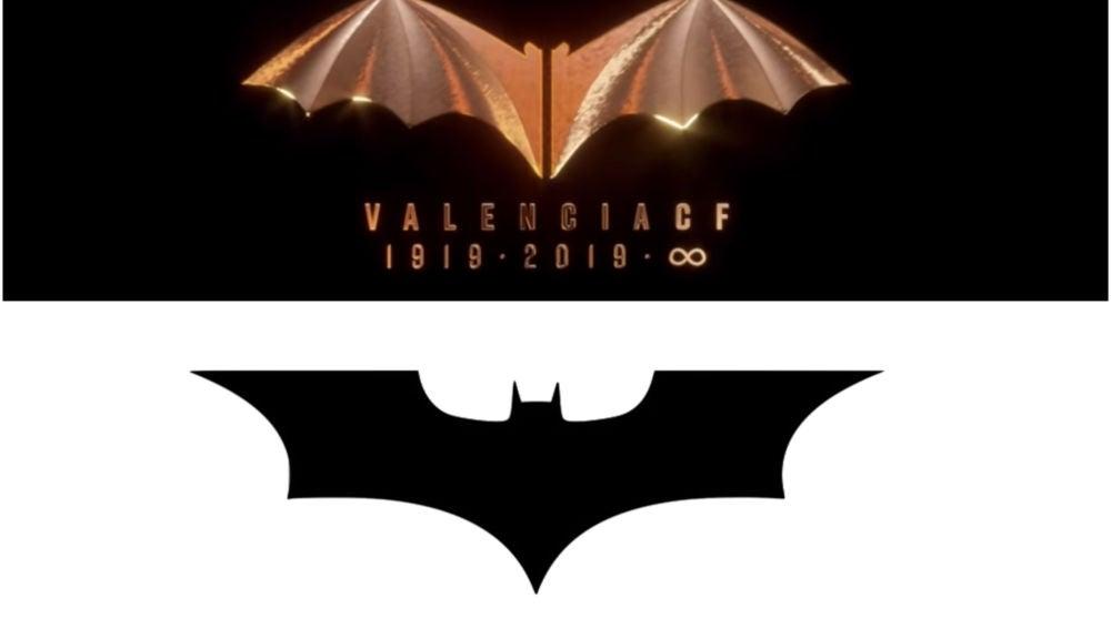 Logo del centenario del Valencia (arriba) y uno de los logos de Batman.