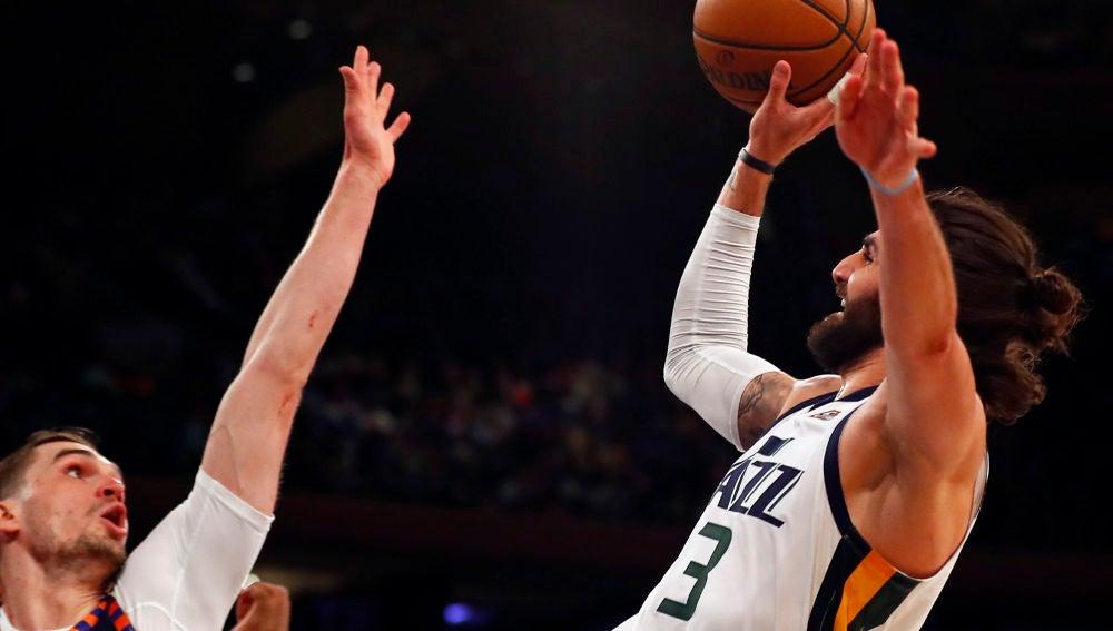 Ricky Rubio, en acción ante los Knicks en el Madison Square Garden