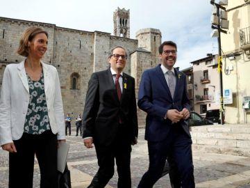 El presidente de la Generalitat, Quim Torra, junto al alcalde de La Seu d'Urgell, Albert Batalla
