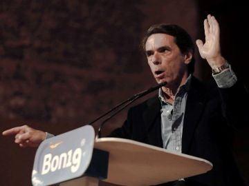 El expresidente del Gobierno José María Aznar durante su discurso