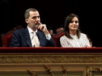 Los reyes Felipe VI y Letizia, durante la sesión inaugural del VIII Congreso Internacional de la Lengua Española