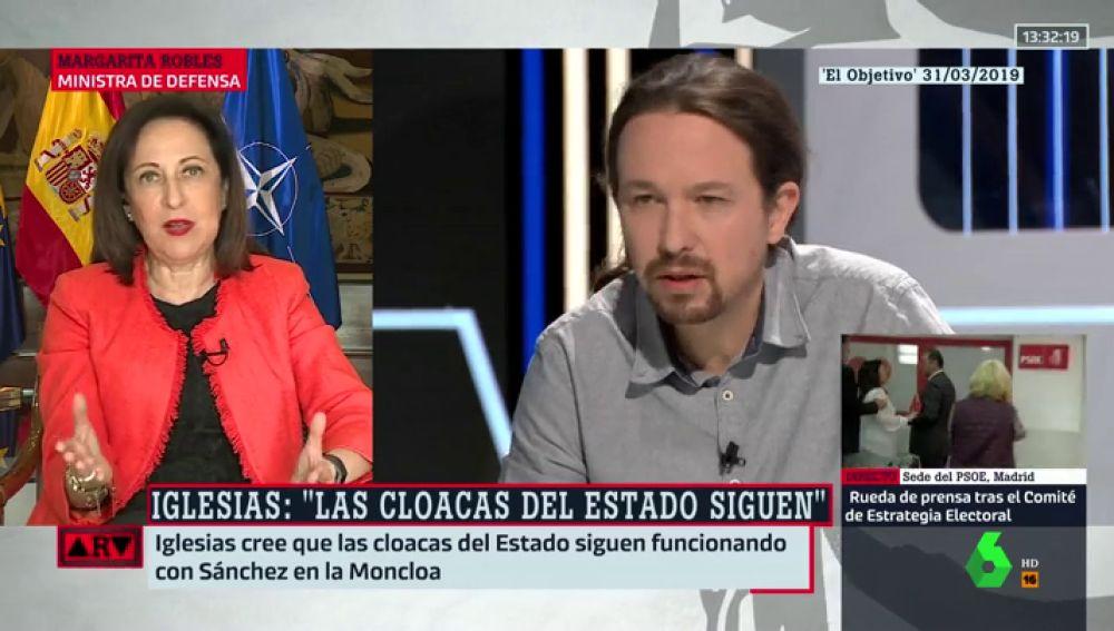 El mensaje de Margarita Robles a Pablo Iglesias sobre las cloacas del Estado