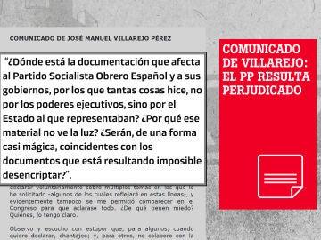 Imagen con un fragmento del comunicdo de Villarejo