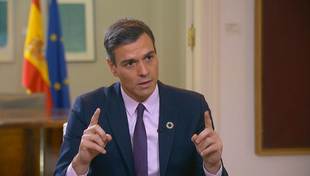 Pedro Sánchez en su entrevista con Ferreras en Moncloa