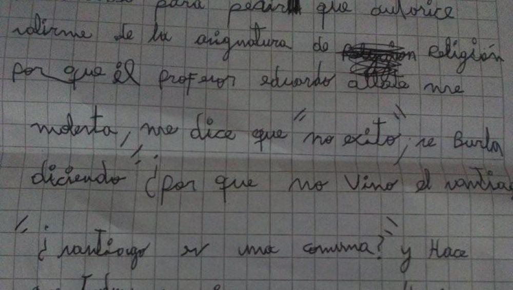 La carta que envió el pequeño Santiago a la directora de su colegio.