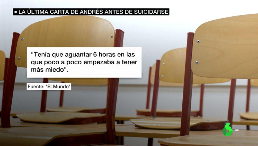 """El """"infierno diario"""" en clase que relató Andrés en su carta de suicidio: """"Estaba harto de tragar. Ya no quiero vivir más"""""""