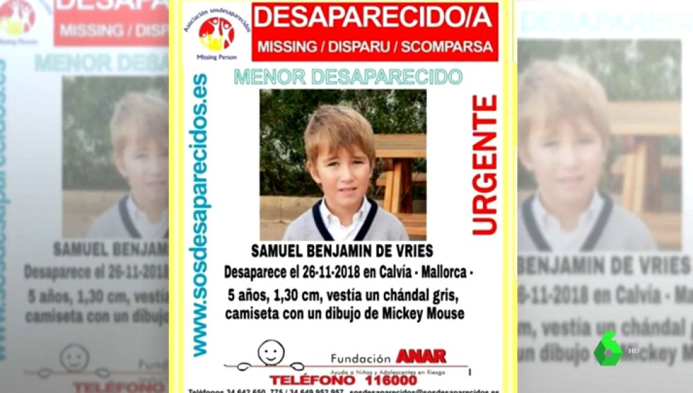 Cartel de búsqueda de Samuel Benjamin de Vries
