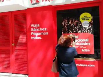 """Local escogido por Nuevas Generaciones del PP para montar su campaña """"Falcon Viajes"""""""