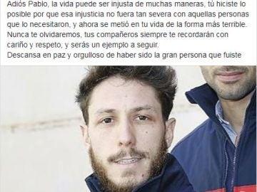 Pablo Cano, bombero fallecido a los 34 años