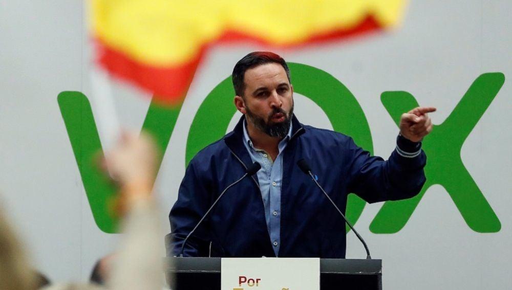 Santiago Abascal en un acto de Vox en el País Vasco