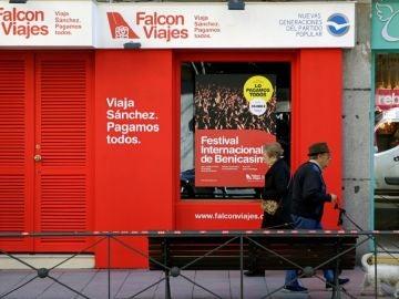 Fachada de la agencia de viajes 'Falcon Viajes', abierta por Nuevas Generaciones del Partido Popular