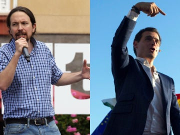 Pablo Iglesias y Albert Rivera en actos de campaña electoral