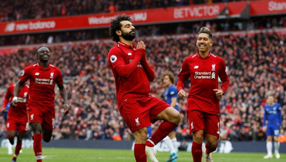 Salah celebra su golazo contra el Chelsea