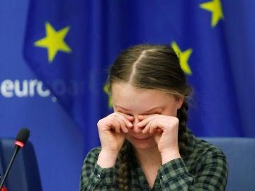 Greta Thunberg, durante su intervención en la Eurocámara.