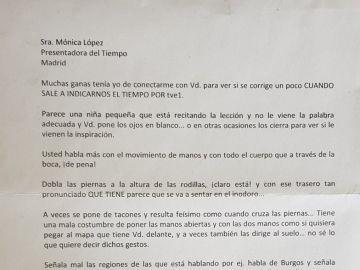 La carta recibida por la meteoróloga
