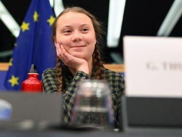 Greta Thunberg durante su discurso en el Parlamento Europeo