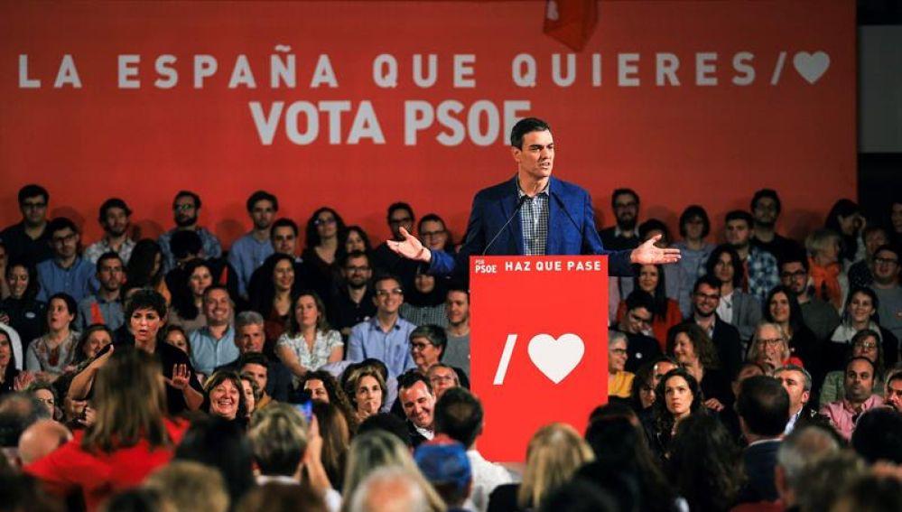 El candidato del PSOE a la reelección como presidente del Gobierno, Pedro Sánchez