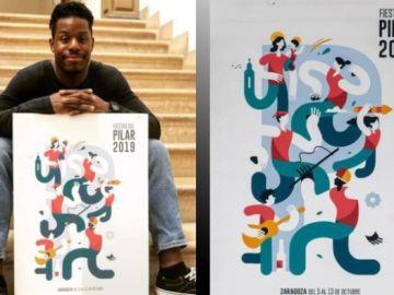 Samuel Afinkenwa junto a su cartel, 'Pilares'.
