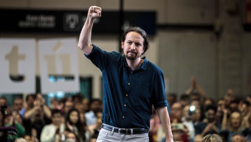 El secretario general de Podemos, Pablo Iglesias, esta semana en un mitin