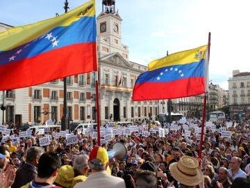 La concentración de venezolanos que ha tenido lugar en la Puerta del Sol  de Madrid