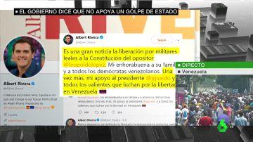 """Albert Rivera se muestra a favor de Juan Guaidó: """"Mi apoyo al presidente y a todos los valientes que luchan por la libertad en Venezuela"""""""