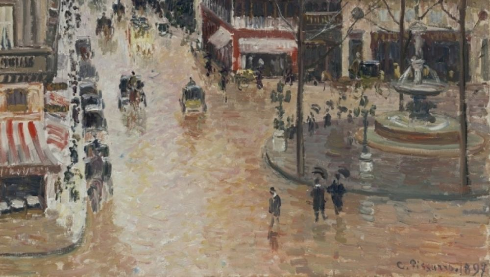El cuadro 'Rue Saint-Honoré por la tarde. Efecto de lluvia', de Camille Pissarro.