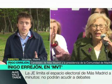 """Iñigo Errejón califica de """"sinsentido"""" la decisión de la JEC de no permitir ni a él ni a Manuela Carmena participar en los debates del 26M"""