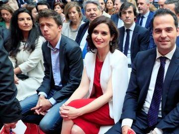 Rocío Monasterio (Vox), Iñigo Errejon (Unidas Podemos), Isabel Díaz Ayuso (PP ) e Ignacio Aguado (Cs), en el acto del 2 de Mayo en Madrid.