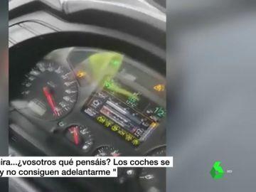 Así se jactaba en un vídeo el conductor de un camión que conducía por la autovía a 120 km/h