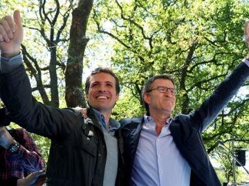 Casado y Feijóo en un acto del PP en Santiago