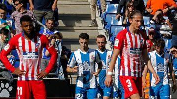 El Espanyol celebra uno de sus goles ante el Atlético de Madrid