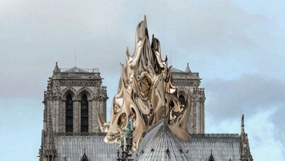 Así sería la reconstrucción de la aguja de Notre-Dame por el arquitecto Mathieu Lehanneur.