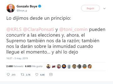 El twit de Gonzalo Boye