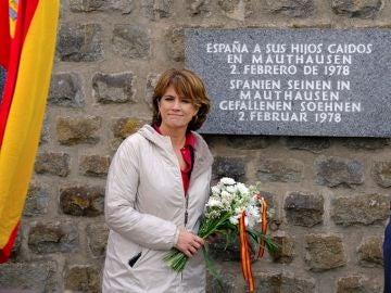 La ministra Dolores Delgado durante el acto de conmemoración a las víctimas del nazismo en Austria