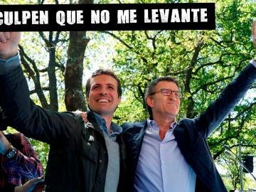 Casado y Feijóo en Santiago de Compostela tras el mal resultado de las elecciones del 28A