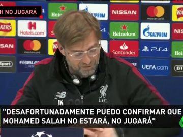 """Klopp confirma que Salah será baja ante el Barça: """"Está mejor, pero no puede jugar mañana"""""""